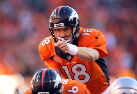 Picture of Peyton Manning, Star Quarterback of the Denver Broncos in the Super Bowl XLVIII 2014